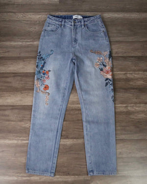 Final Sale - MINKPINK - Wild Flower Scando Jeans in Dusty Blue