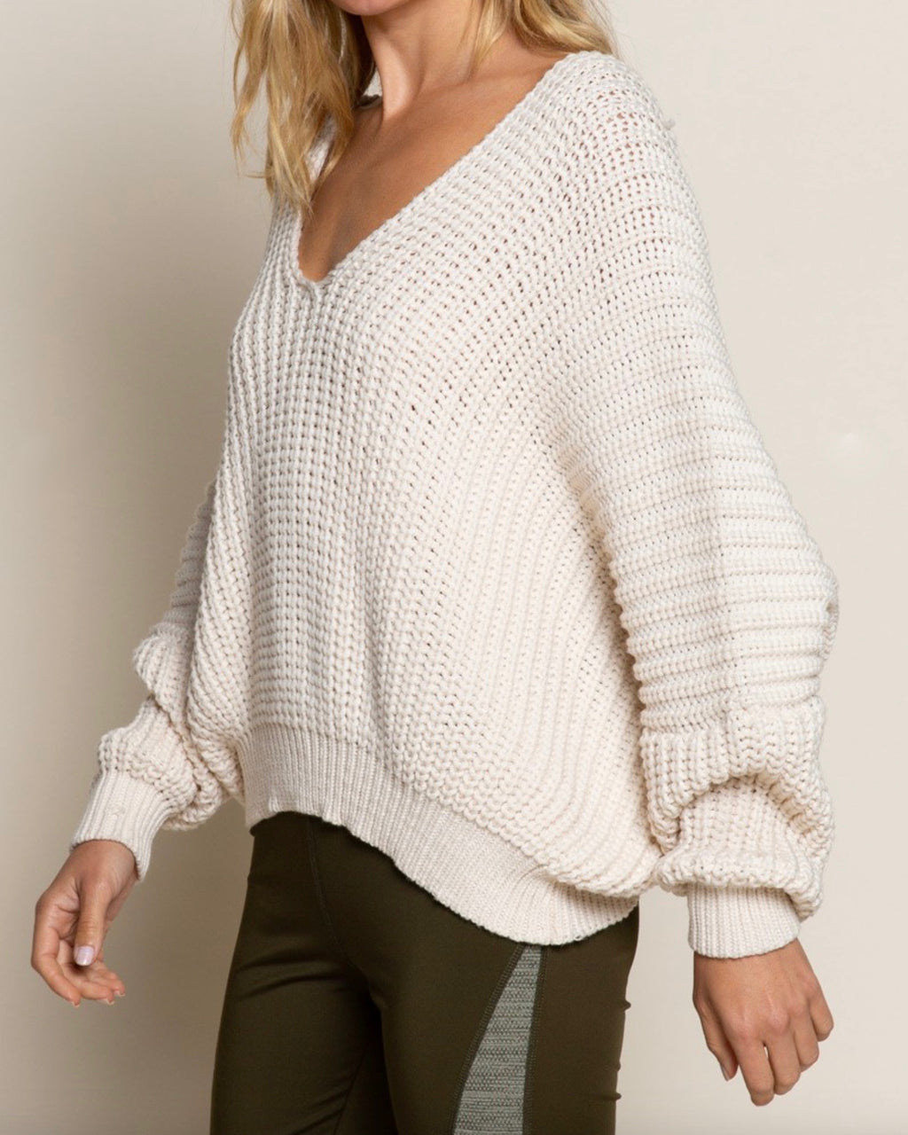 Cable Knit Deep V Neck Dolman Sleeve Sweater in Almond