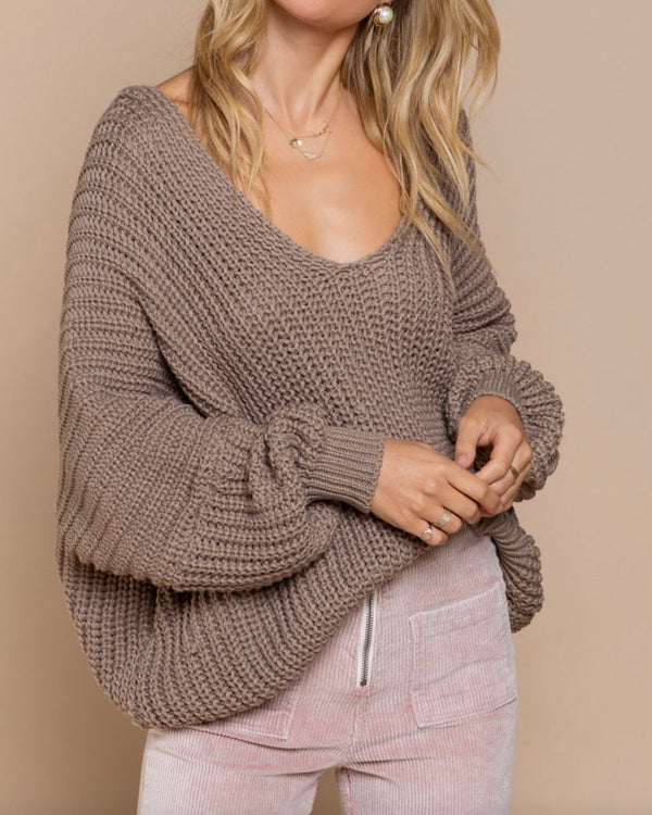 Cable Knit Deep V Neck Dolman Sleeve Sweater in Cocoa