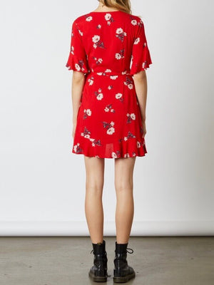 cotton candy la - best buds wrap dress - red