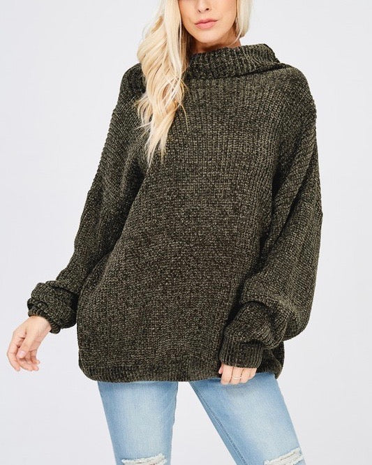 Chenille Turtleneck Knitted Pullover Sweater in Olive