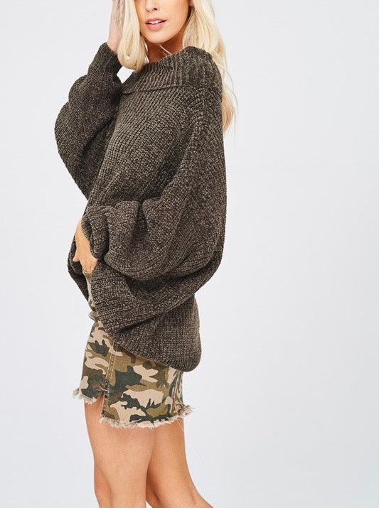 chenille turtle neck knitted pullover sweater - olive