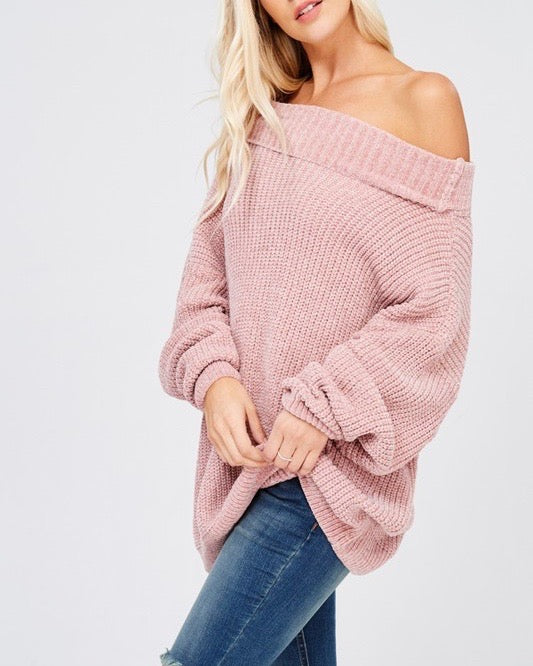 chenille turtle neck knitted pullover sweater - twig