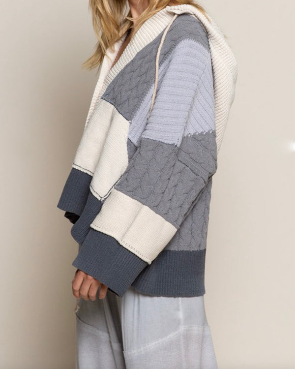Color Block Weave Sweater Knit Cardigan in Charcoal Multi