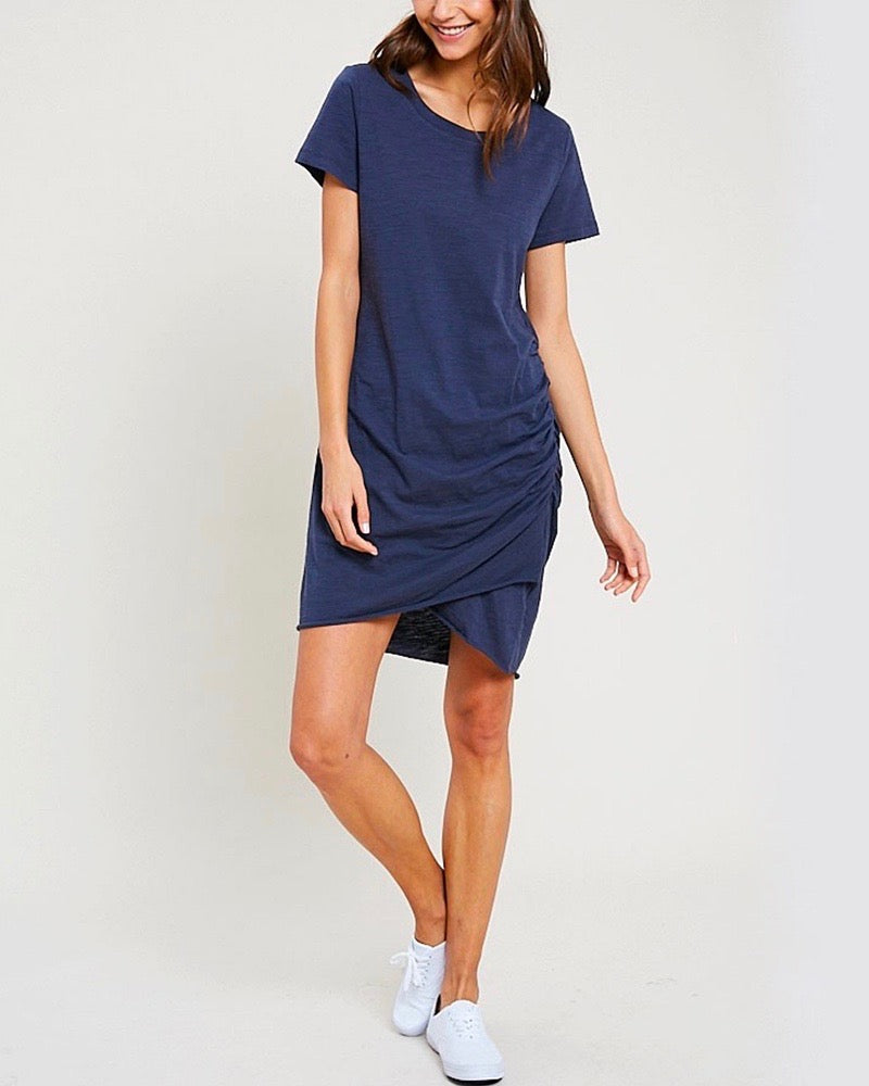 Final Sale - Best of Luck Round Neck Ruched Mini Dress in Midnight Navy