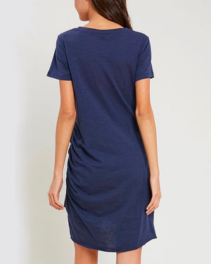 Best of Luck Round Neck Ruched Mini Dress in Midnight Navy