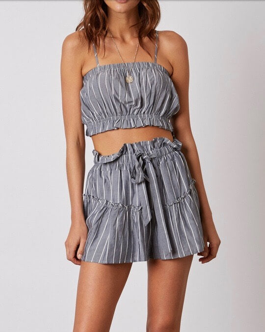 cotton candy la - martine stripe shorts with ruffle hem - denim