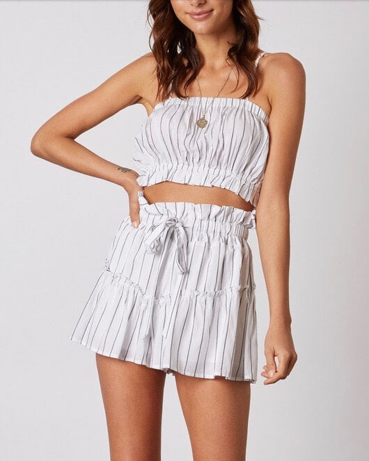cotton candy la - martine stripe crop top - white