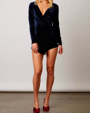 countdown to midnight velvet romper - navy