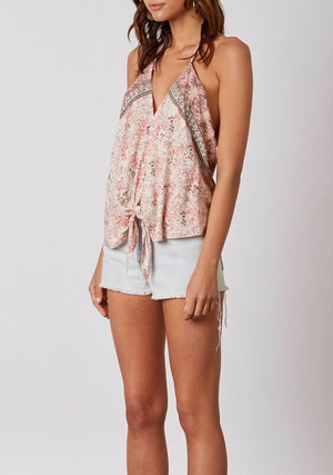 cotton candy la - maya front tie open back halter top - terracota