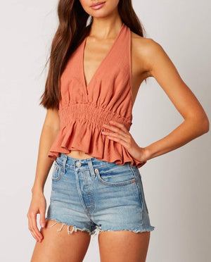 Final Sale - Cotton Candy LA - V-Neck Halter Top in Terracotta