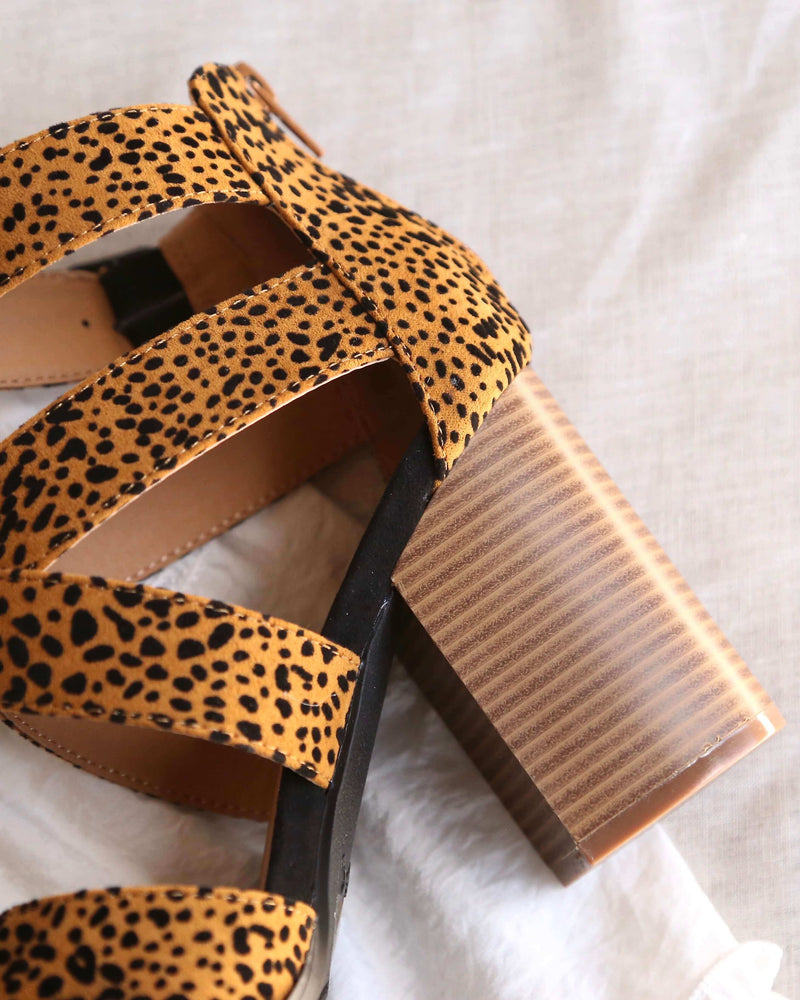 Wild Night Out Textured Suede Open Toe Strappy Sandals in Camel/Black Leopard