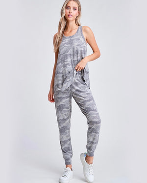 Camo Print Lounge Wear Set - Grey