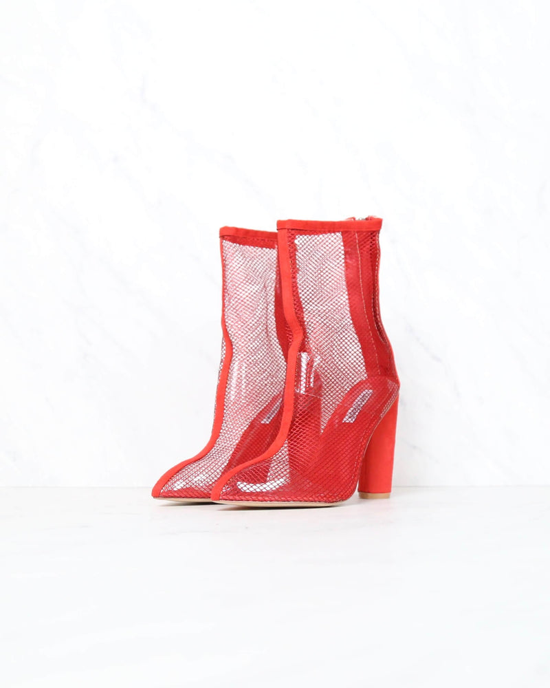 Cape Robbin - other woman pointed toe mesh heel bootie in red