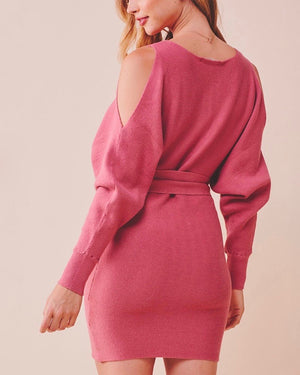 Cold Shoulder Front Tie Knit Sweater Dress in More Colors