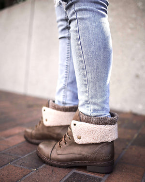 FINAL SALE - Coolway - Bring/Betta Leather Knit Sweater Cuff Ankle Boots in More Colors