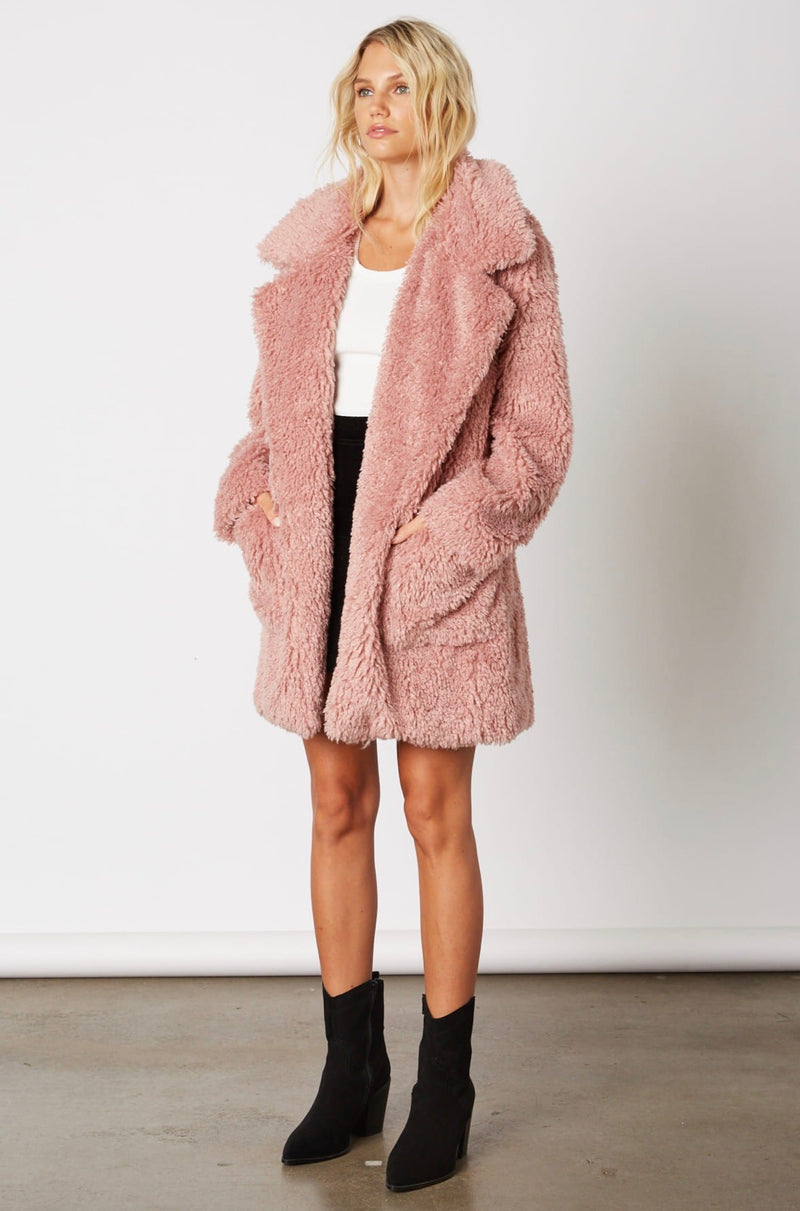 Cotton Candy LA - Open Collar Faux Fur Coat - More Colors