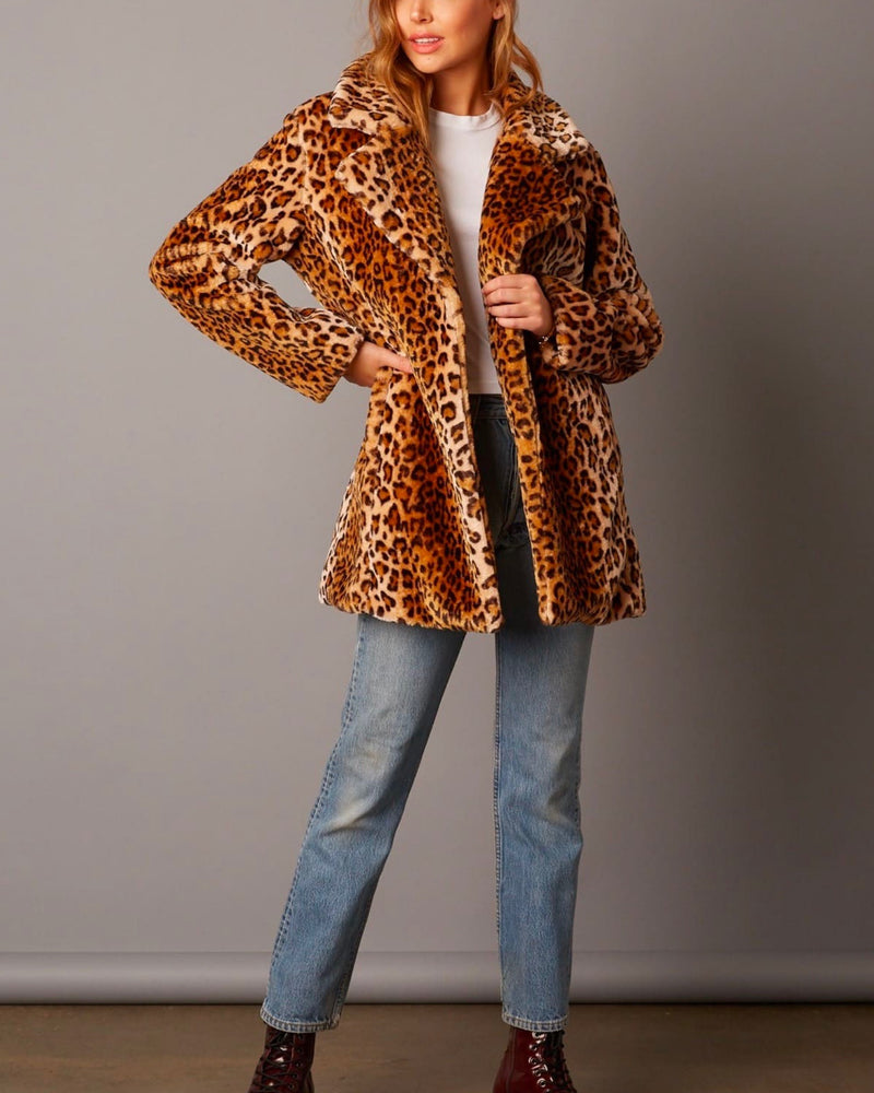 Selena - Open Collar Faux Fur coat - tan/leopard