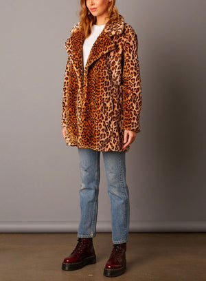 Cotton Candy LA - Selena Open Collar Faux Fur Coat in Brown/Leopard