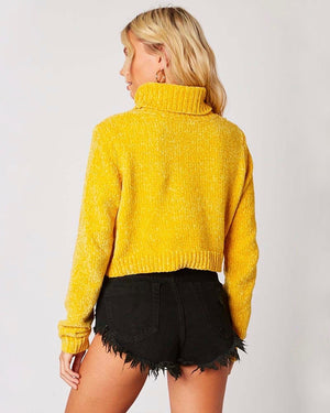 Cotton Candy LA - Turtleneck Ribbed Knit Cropped Sweater - More Colors