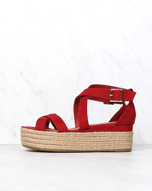 Criss Cross Strappy Two Band Espadrilles Platform Sandal with Ankle Strap - More Colors