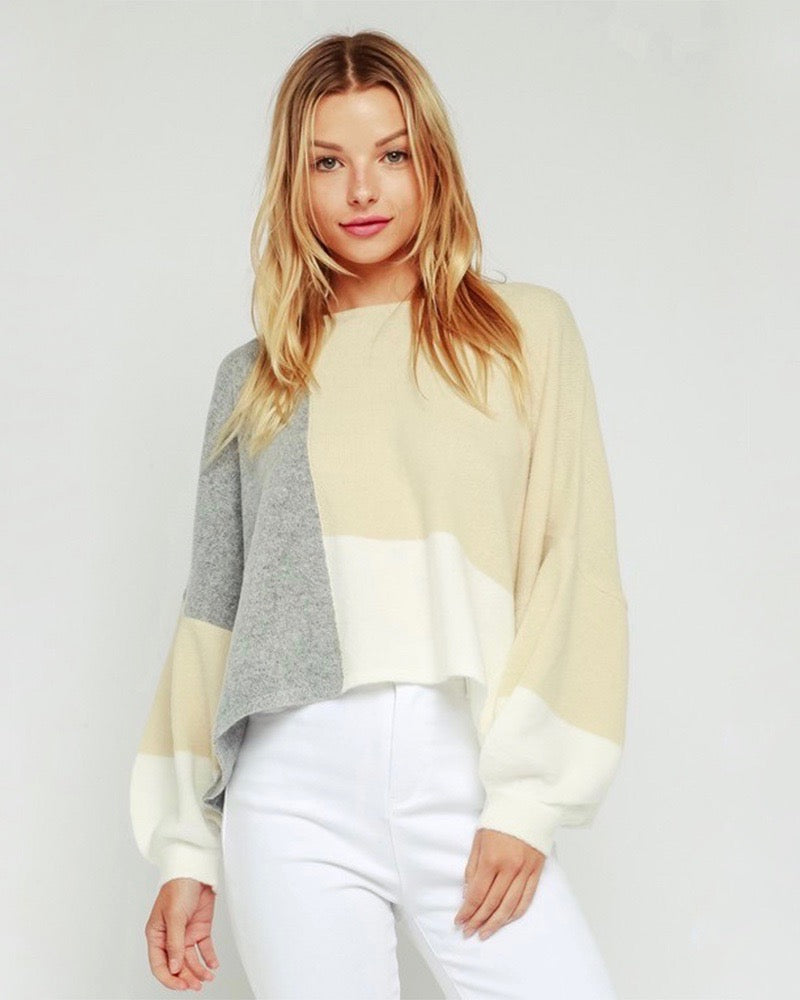 Olivaceous - Cropped Bell Sleeve Colorblock Pullover Sweater