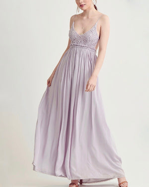 open back crochet maxi dress - lavender
