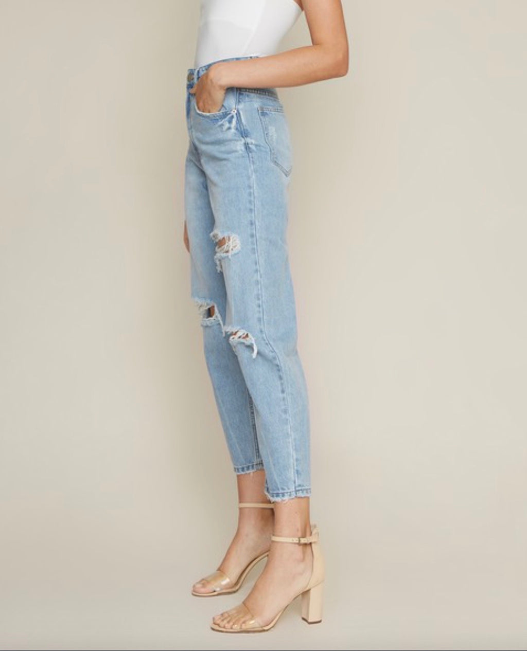 Thalia Distressed High Waisted Denim Mom Jeans in Light Wash