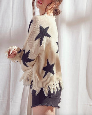 Dakota Distressed Star Print Knit Pullover in Ivory/Black
