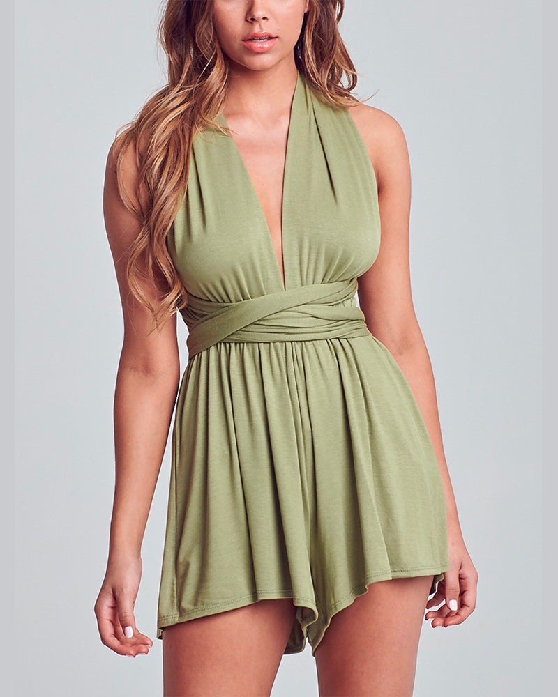 Independent Woman Multi Wear Romper in Olive