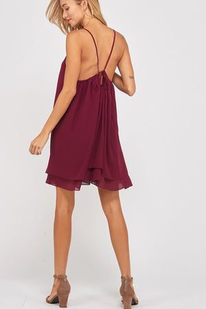 Essential Double Layered V-Neck Sleeveless Dress in Burgundy
