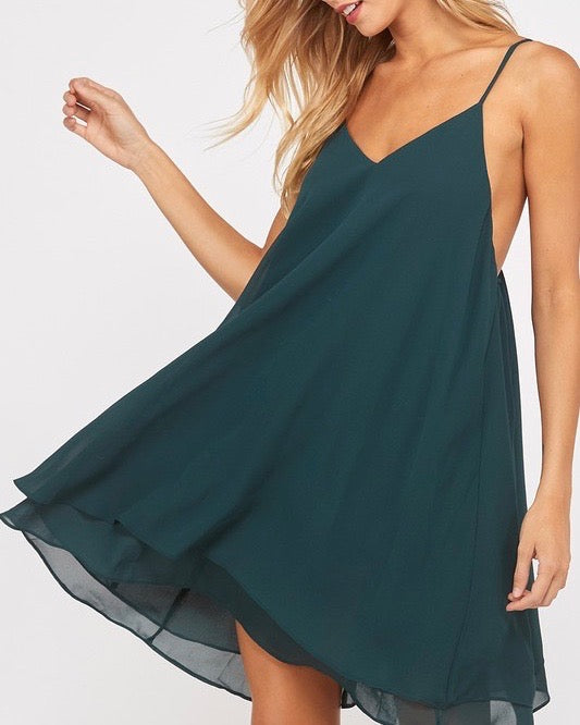 Essential Double Layered V-Neck Sleeveless Dress in Hunter Green