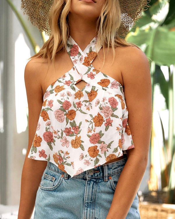 Spring Twist Floral Halter Sleeveless Crop Top in Taupe/Pink
