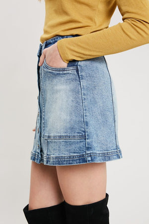 Denim Washed Front Button Down Mini Skirt
