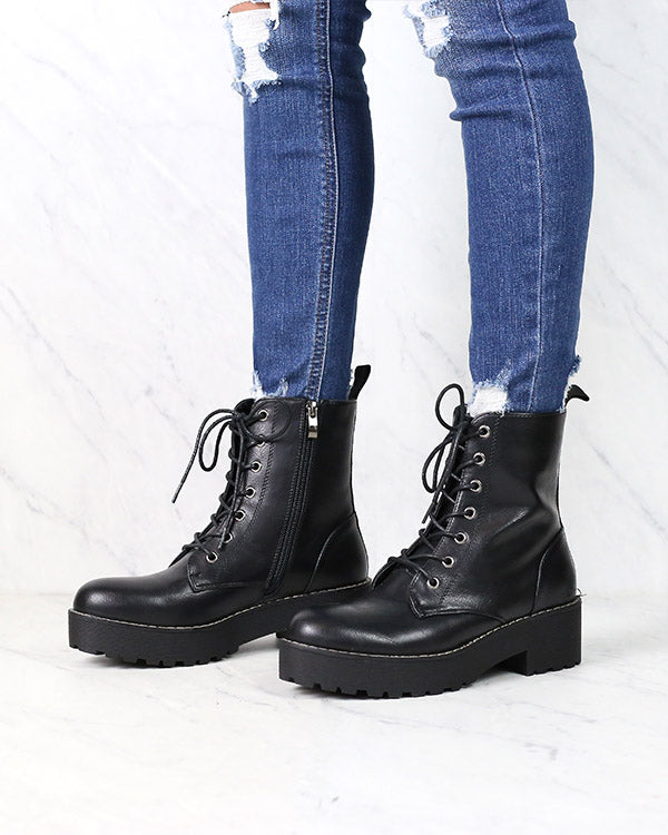 Dirty Laundry - Mazzy Lace-Up Platform Combat Boots - Black