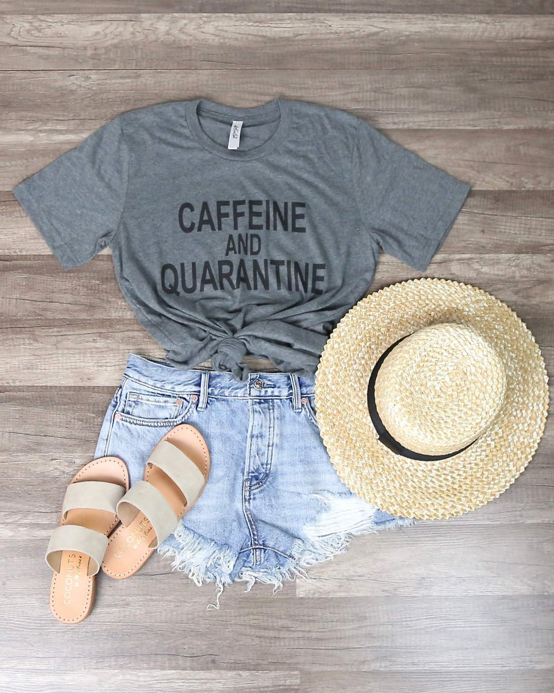 Distracted - Caffeine and Quarantine Funny Graphic Tee in Gray