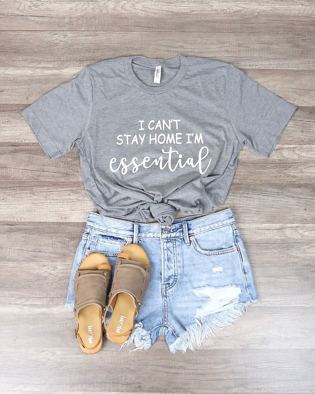 Distracted - I Can't Stay Home, I'm Essential Graphic Tee in Gray