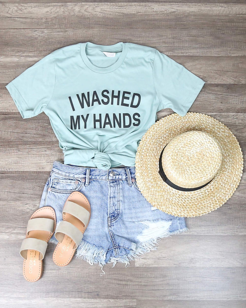 Distracted - I Washed My Hands Funny Graphic Tee in Mint