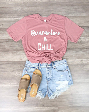 Distracted - Quarantine & Chill Funny Graphic Tee in Pink