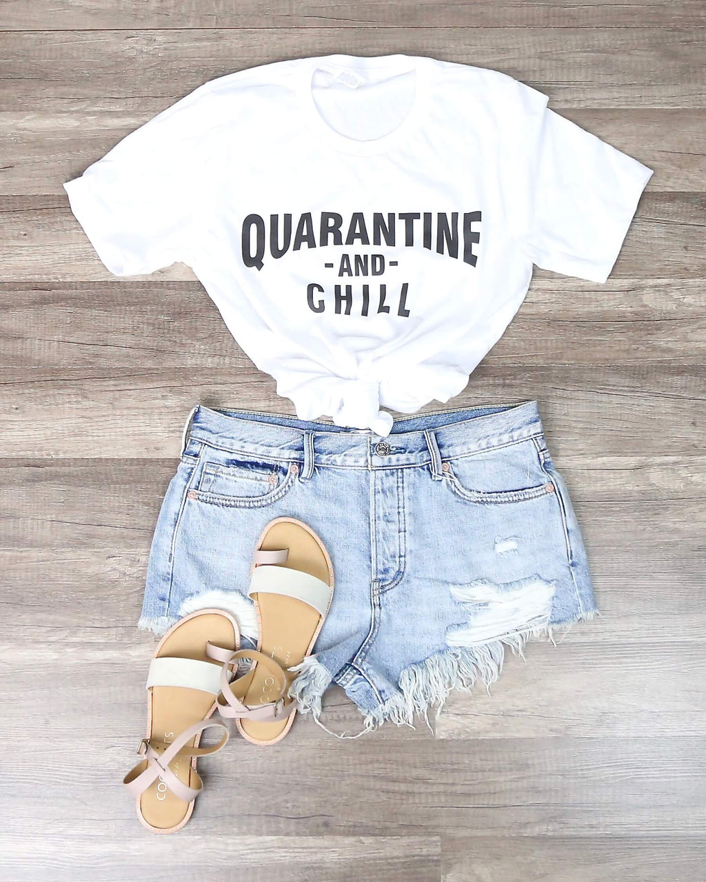 Distracted - Quarantine and Chill Funny Graphic Tee in White