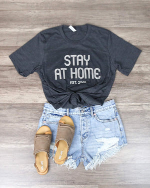 Distracted - Stay At Home Graphic Tee in Dark Charcoal Grey