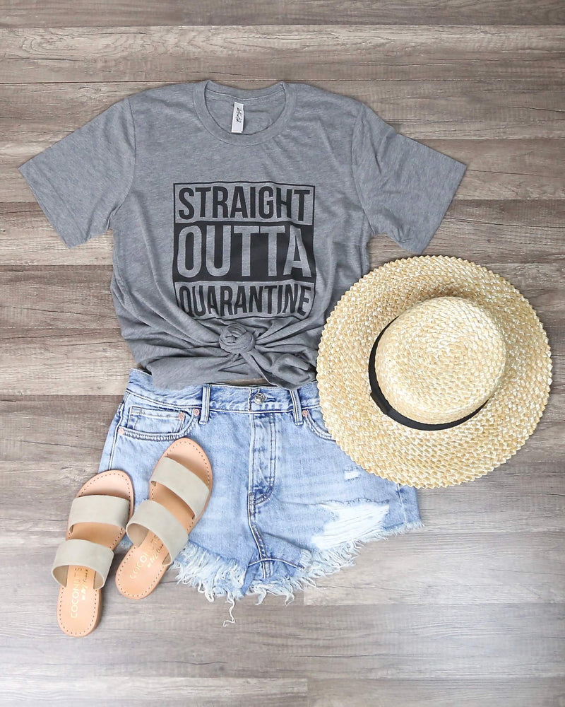 Distracted - Straight Outta Quarantine Funny Graphic Tee in Gray