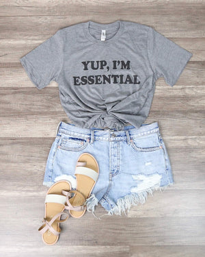 Distracted - Yup I'm Essential Funny Graphic Tee in Gray