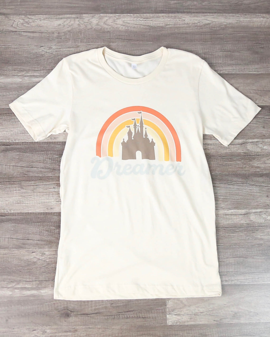 Distracted - Rainbow Dreamer Castle Graphic Tee in Cream