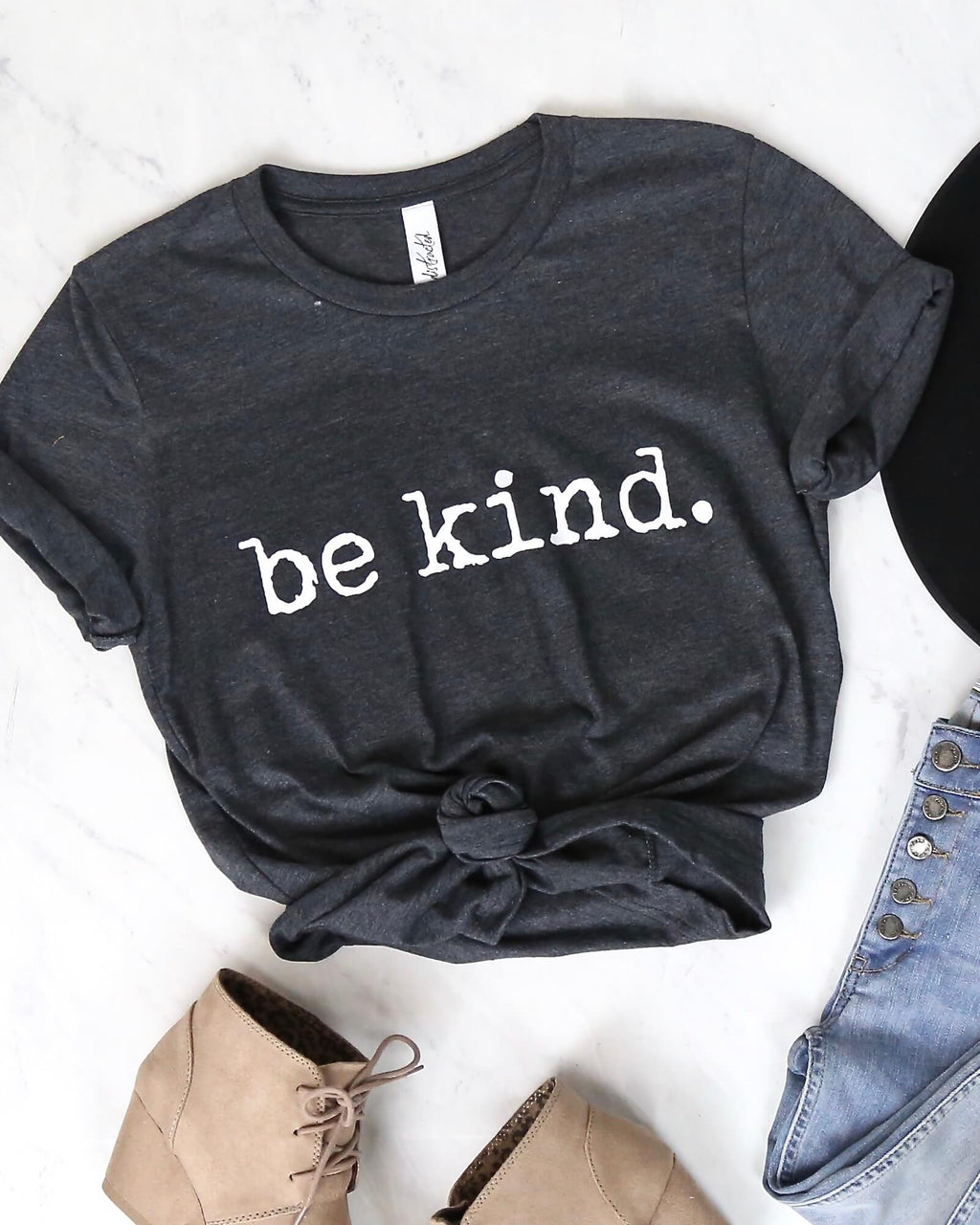 Distracted - Be Kind. Graphic Tee - Dark Charcoal Grey