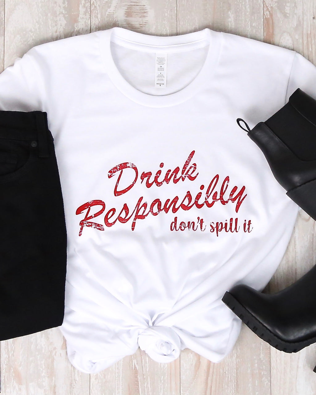 Distracted - Drink Responsibly, Don't Spill It Graphic Tee in White
