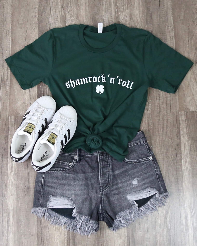 Distracted - Shamrock N Roll Saint Patrick's Day Unisex Tshirt - Forest Green