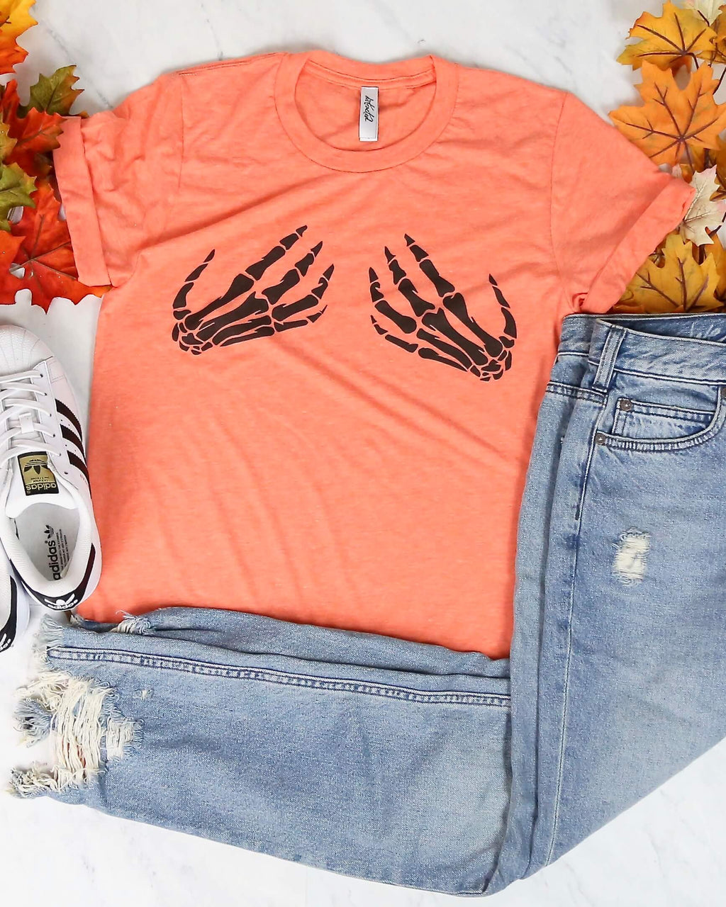 Distracted - Skeleton Hands Funny Halloween Tee - More Colors