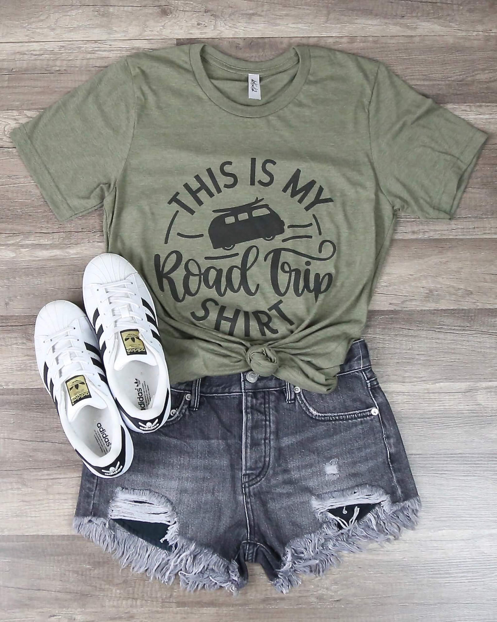 Distracted - This Is My Road Trip Shirt Graphic Tee in Olive