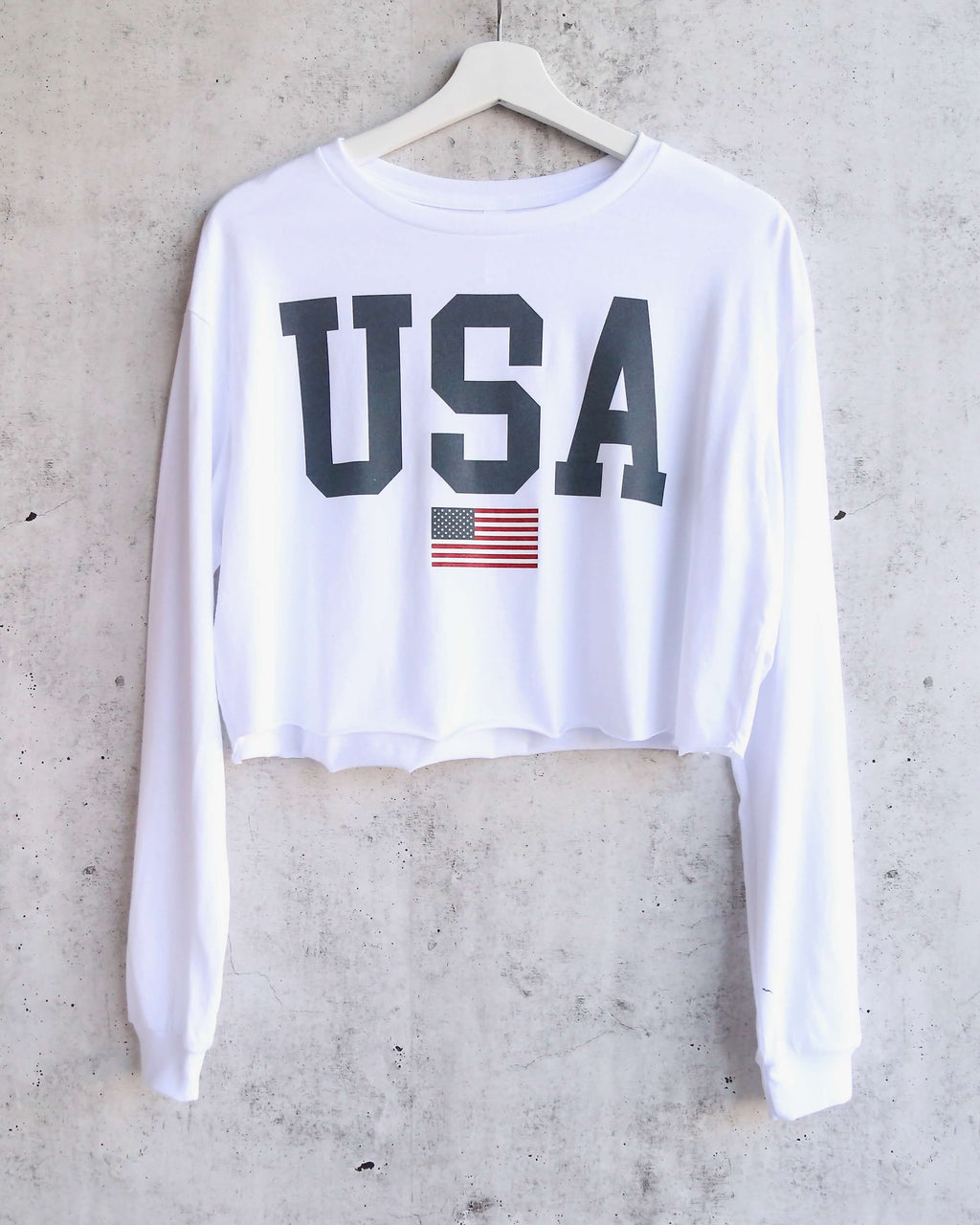 Distracted - USA Graphic Women's Cropped Long Sleeve Tee - white